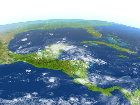 Central America. 3D illustration with detailed planet surface.