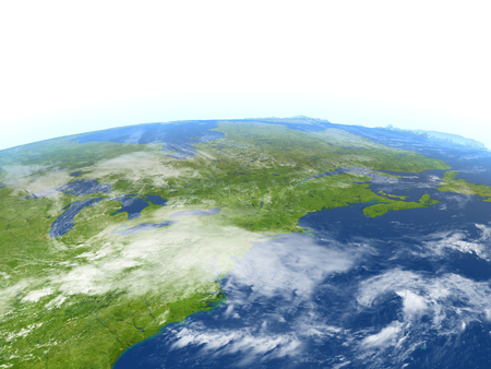 East coast of Canada. 3D illustration with detailed planet surface. Elements of this image furnished by NASA.
