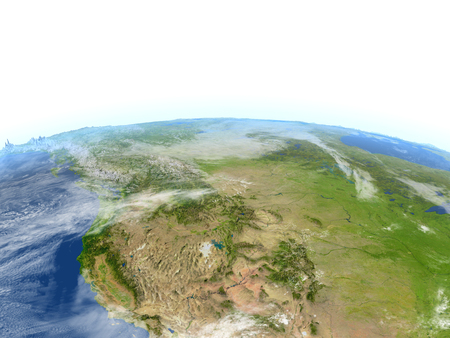 California. 3D illustration with detailed planet surface.