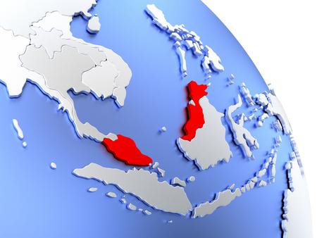 Map Of Malaysia On Elegant Shiny Globe D Illustration Stock - Map of globe