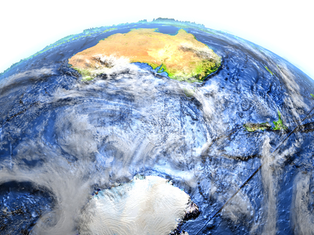 Southern Ocean on 3D model of Earth. 3D illustration with plastic planet surface and ocean floor. Elements of this image furnished by NASA. Stock Photo
