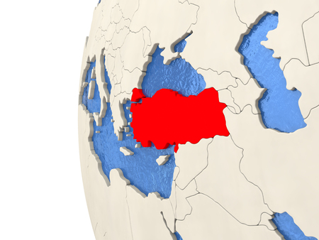 Map of Turkey on globe with watery blue oceans and landmass with visible country borders. 3D illustration Stock Photo