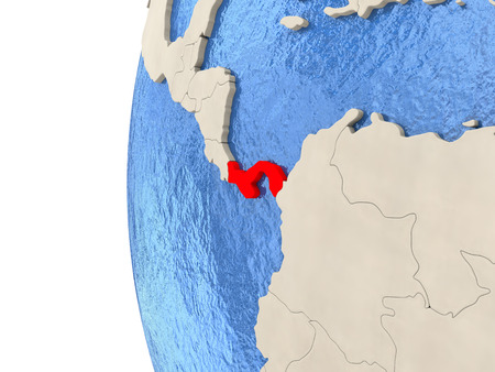 panamanian: Map of Panama on globe with watery blue oceans and landmass with visible country borders. 3D illustration