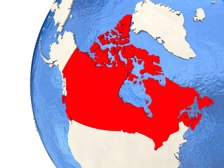 visible: Map of Canada on globe with watery blue oceans and landmass with visible country borders. 3D illustration