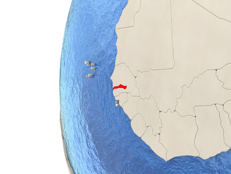 Map of Gambia on globe with watery blue oceans and landmass with visible country borders. 3D illustration