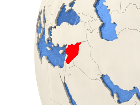 visible: Map of Syria on globe with watery blue oceans and landmass with visible country borders. 3D illustration Stock Photo
