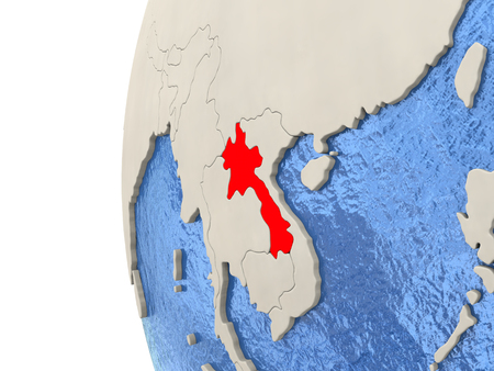 Map of Laos on globe with watery blue oceans and landmass with visible country borders. 3D illustration Stock Photo