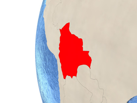 map bolivia: Map of Bolivia on globe with watery blue oceans and landmass with visible country borders. 3D illustration Foto de archivo