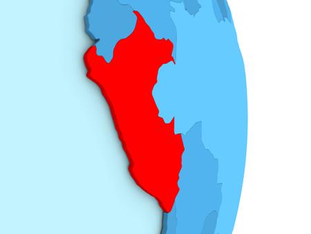 Mapa de Perú en globo azul con las fronteras del país visible y países en diferentes tonos de azul. Ilustración 3D