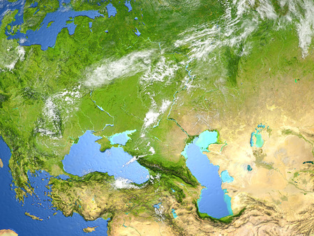 Western Asia. 3D illustration with detailed planet surface.