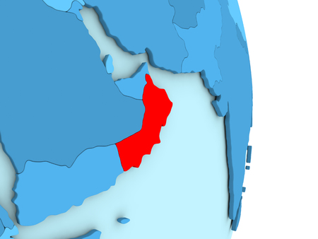Map of Oman on blue globe with visible country borders and countries in different shades of blue. 3D illustration