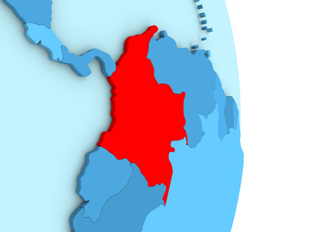 Map of Colombia on blue globe with visible country borders and countries in different shades of blue. 3D illustration Stock Photo