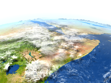 Horn of Africa. 3D illustration with detailed planet surface. Stock Photo