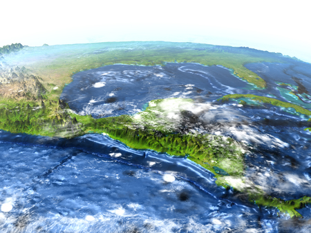 Central America on 3D model of Earth. 3D illustration with plastic planet surface and ocean floor. Stock Photo