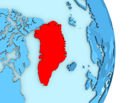 Map of Greenland on blue globe with visible country borders and countries in different shades of blue. 3D illustration