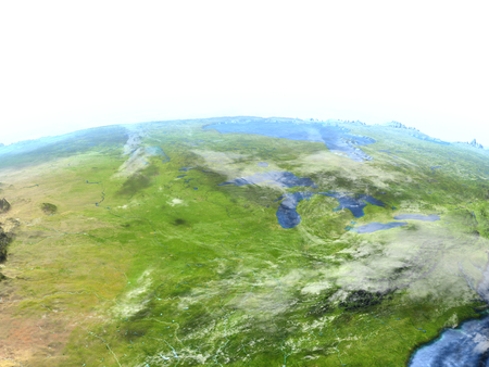 East coast of Canada on 3D model of Earth. 3D illustration with plastic planet surface and ocean floor.