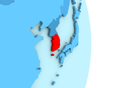 Map of South Korea on blue globe with visible country borders and countries in different shades of blue. 3D illustration