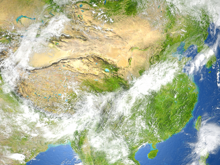 gobi: China and Mongolia region. 3D illustration with detailed planet surface. Stock Photo
