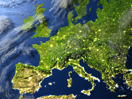 visible: Europe. 3D illustration with detailed planet surface and visible city lights.