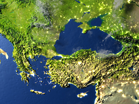 Turkey and Black sea region. 3D illustration with detailed planet surface and visible city lights.