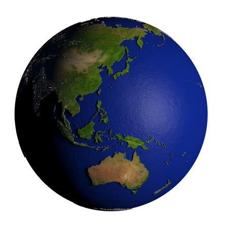 Australasia on model of Earth with dark blue oceans and embossed landmasses. 3D illustration isolated on white background.