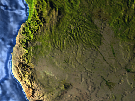 delta: Okawango delta on 3D model of Earth. 3D illustration with plastic planet surface and ocean floor at night. Stock Photo