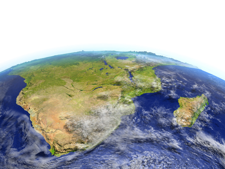 South of Africa on model of Earth. 3D illustration with realistic planet surface. Elements of this image furnished by NASA. Stock Photo