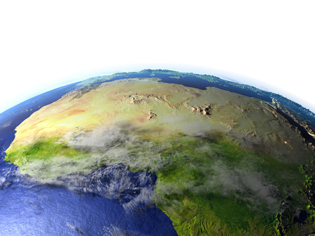 desertification: North Africa on model of Earth. 3D illustration with realistic planet surface.