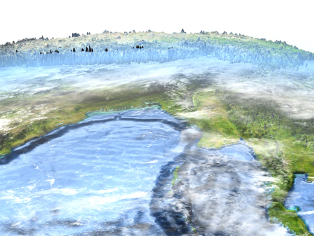 Indochina on 3D model of Earth. 3D illustration with plastic planet surface and ocean floor.