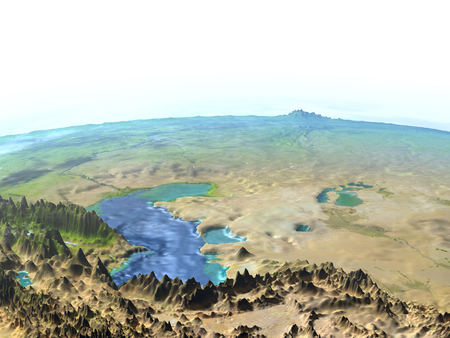 Central Asia on 3D model of Earth. 3D illustration with plastic planet surface and ocean floor.