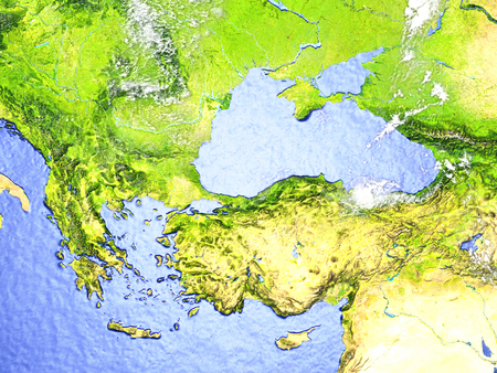 Turkey and Black sea region on model of Earth. 3D illustration with realistic planet surface.