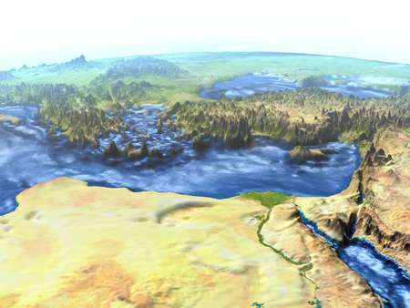 Middle East on 3D model of Earth. 3D illustration with plastic planet surface and ocean floor.