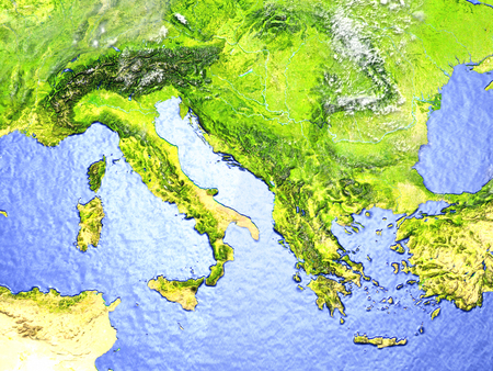 Adriatic sea region on model of Earth. 3D illustration with realistic planet surface.