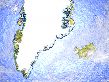 Greenland and Iceland on model of Earth. 3D illustration with realistic planet surface.