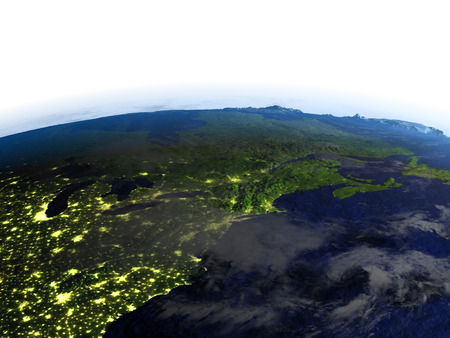 East coast of Canada on model of Earth at night. 3D illustration with realistic planet surface and visible city lights. Stock Photo