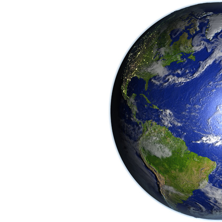 the americas: Americas on model of Earth. 3D illustration with realistic planet surface. Blank space for your copy on the left side.