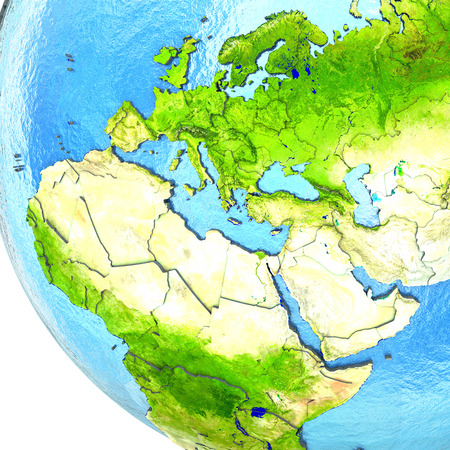 visible: EMEA region on 3D model of planet Earth with watery ocean and visible country borders. 3D illustration.