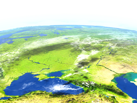 Caucasus region. 3D illustration with detailed planet surface.