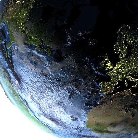 atlantic city: Europe and North America on 3D model of Earth. 3D illustration with plastic planet surface and ocean floor at night and visible city lights.