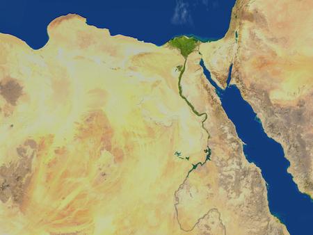 Ägypten. 3D-Darstellung mit detaillierter Planetenoberfläche. Standard-Bild