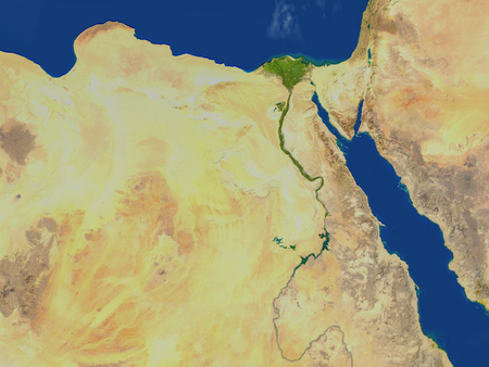 Egypt. 3D illustration with detailed planet surface.