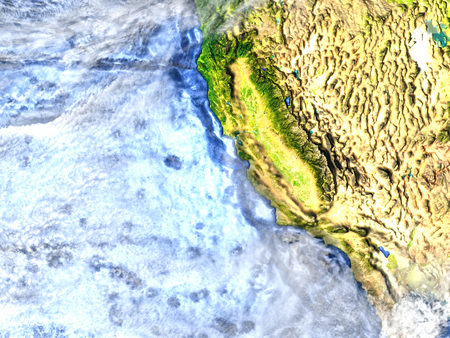 colorado rocky mountains: California on 3D model of Earth. 3D illustration with plastic planet surface and ocean floor. Stock Photo