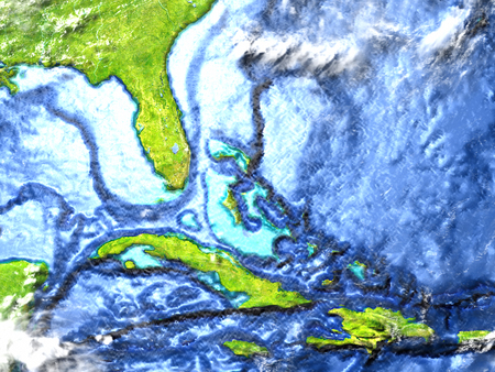 North Caribbean on 3D model of Earth. 3D illustration with plastic planet surface and ocean floor.