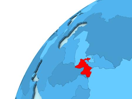 Tajikistan in red on simple blue political globe. 3D illustration