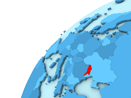 Moldova in red on simple blue political globe. 3D illustration Stock Photo