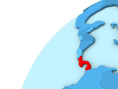 panamanian: Panama in red on simple blue political globe. 3D illustration
