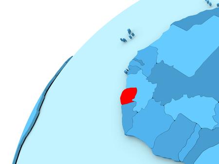 Sierra Leone in red on simple blue political globe. 3D illustration