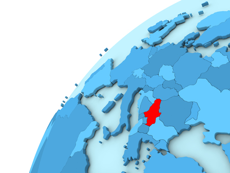 Serbia in red on simple blue political globe. 3D illustration