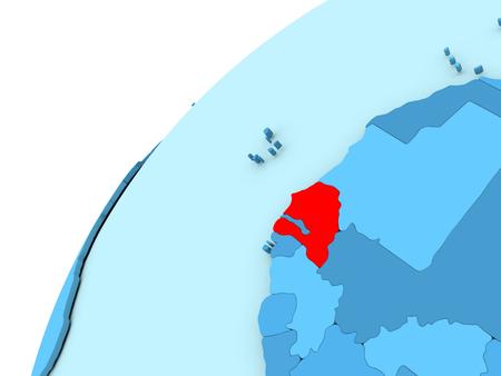Senegal in red on simple blue political globe. 3D illustration