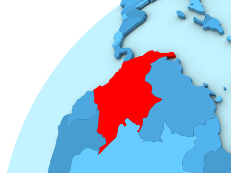 Colombia in red on simple blue political globe. 3D illustration